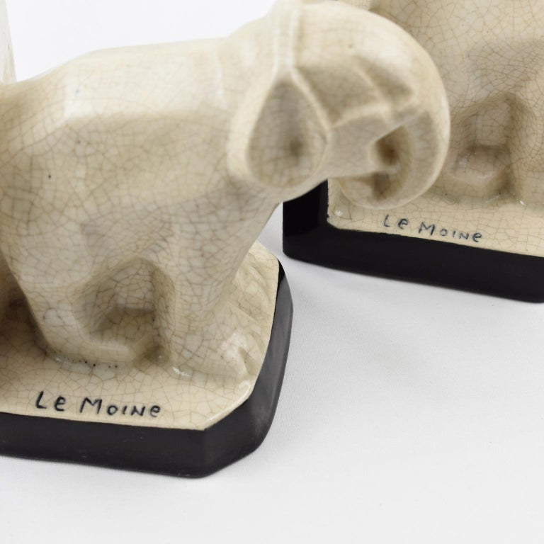 Le Moine French Art Deco Crackled Ceramic Faience Elephant Sculpture Bookends For Sale 5