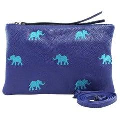 Le Moki blue leather light blue elephants shoulder bag / pochette