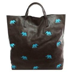 Le Moki dark brown leather blue elephants shopper bag