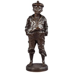 'Le Mousse Siffleur' Bronze of a Sailor by Victor Szczeblewski, Polish, 1889