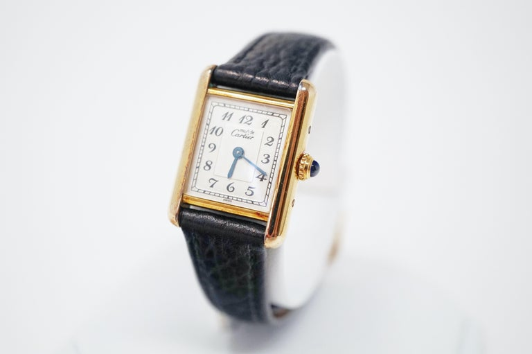 Modern Le Must de Cartier Gold Vermeil Tank Watch with Leather Band