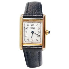 Le Must de Cartier Gold Vermeil Tank Watch with Leather Band
