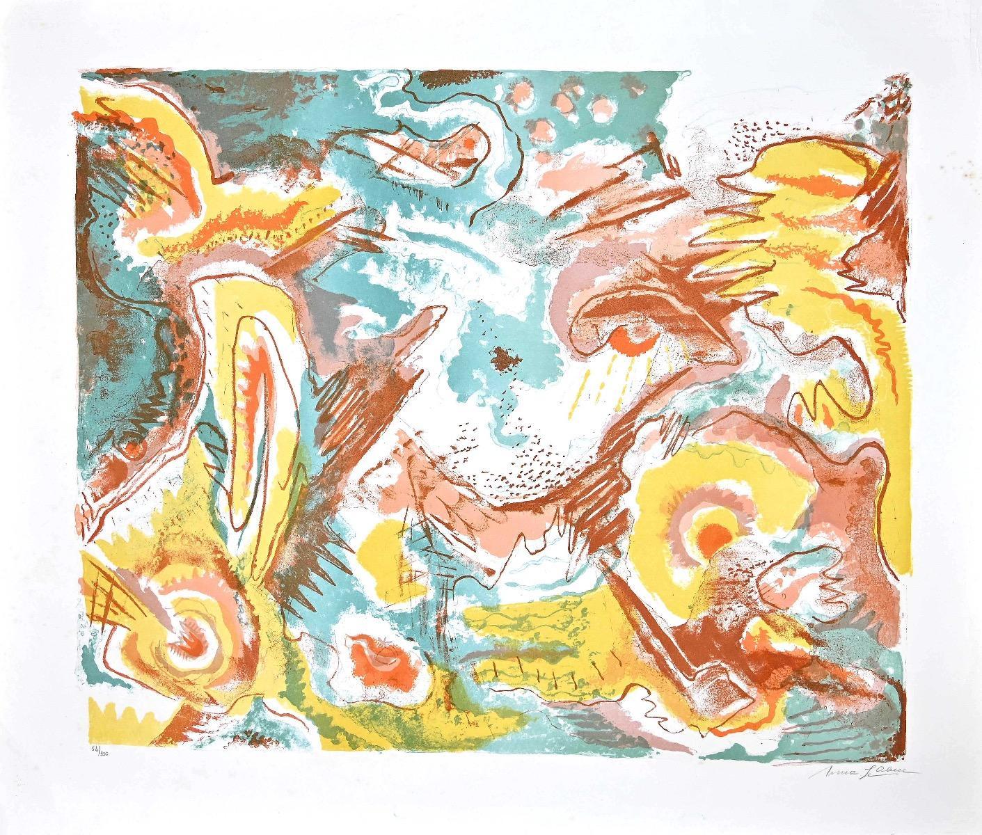 Surrealistic Composition - Original Lithograph by Le Oben - 1970s