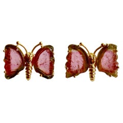 Le Papillon Post Earrings, Watermelon Tourmaline Butterfly Slices