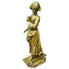 """Le Passage Du Ruisseau"", Bronze by Edmond Tassel"