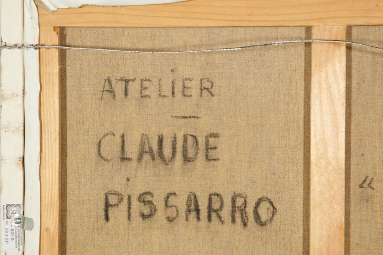 'Le Passeur Du Lac' by Listed Artist H. Claude Pissarro, Oil on Canvas For Sale 4
