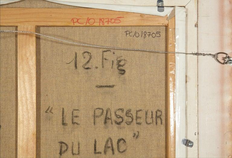 'Le Passeur Du Lac' by Listed Artist H. Claude Pissarro, Oil on Canvas For Sale 5