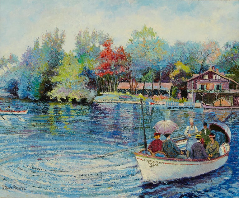 'Le Passeur Du Lac' by H. Claude Pissarro, oil on canvas  Hugues Claude Pissarro, also known professionally as Isaac Pomié, is the grandson of the Impressionist painter Camille Pissarro and son of Paulemile Pissarro. Born in Neuilly-sur-Seine and