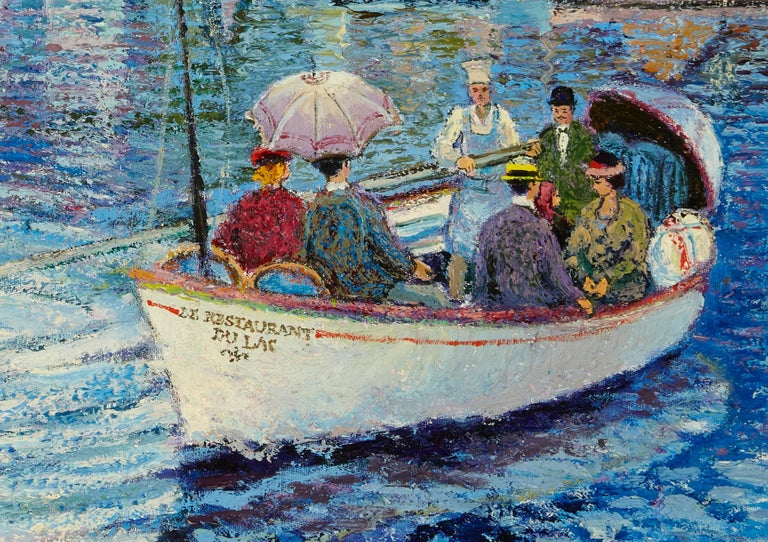 French 'Le Passeur Du Lac' by Listed Artist H. Claude Pissarro, Oil on Canvas For Sale
