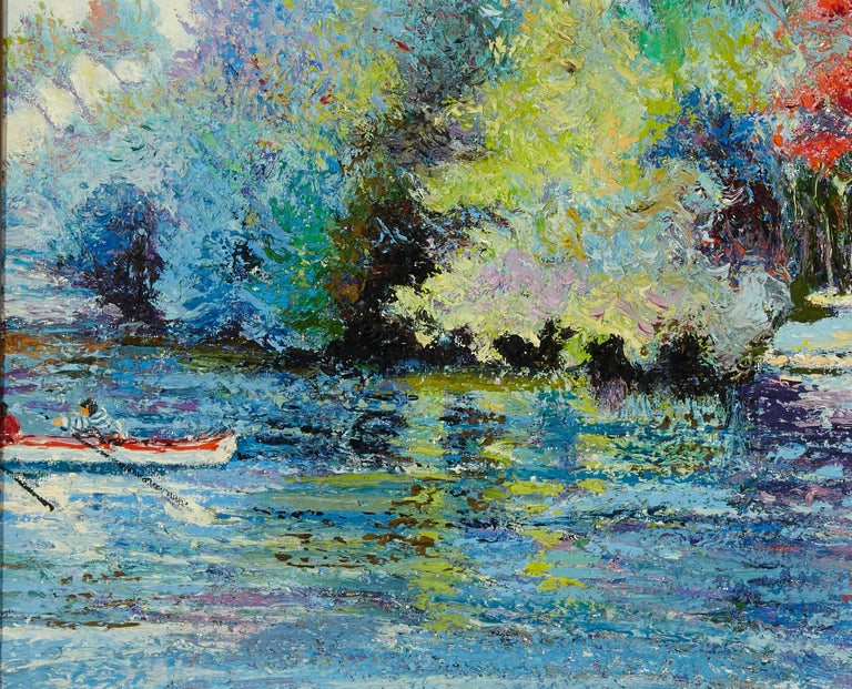 Hand-Painted 'Le Passeur Du Lac' by Listed Artist H. Claude Pissarro, Oil on Canvas For Sale