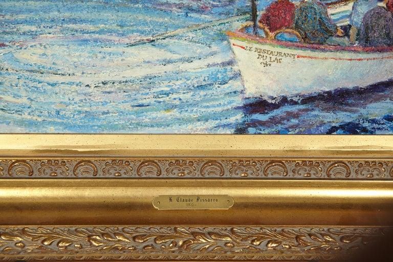 20th Century 'Le Passeur Du Lac' by Listed Artist H. Claude Pissarro, Oil on Canvas For Sale