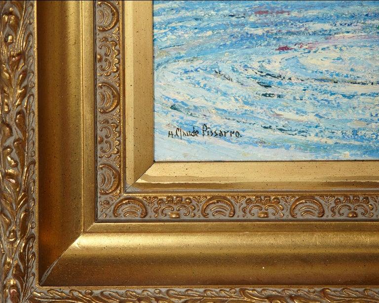 'Le Passeur Du Lac' by Listed Artist H. Claude Pissarro, Oil on Canvas For Sale 1