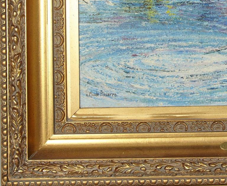 'Le Passeur Du Lac' by Listed Artist H. Claude Pissarro, Oil on Canvas For Sale 2