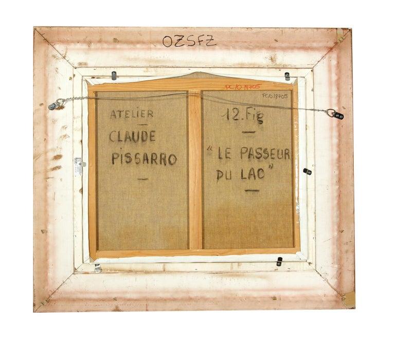 'Le Passeur Du Lac' by Listed Artist H. Claude Pissarro, Oil on Canvas For Sale 3