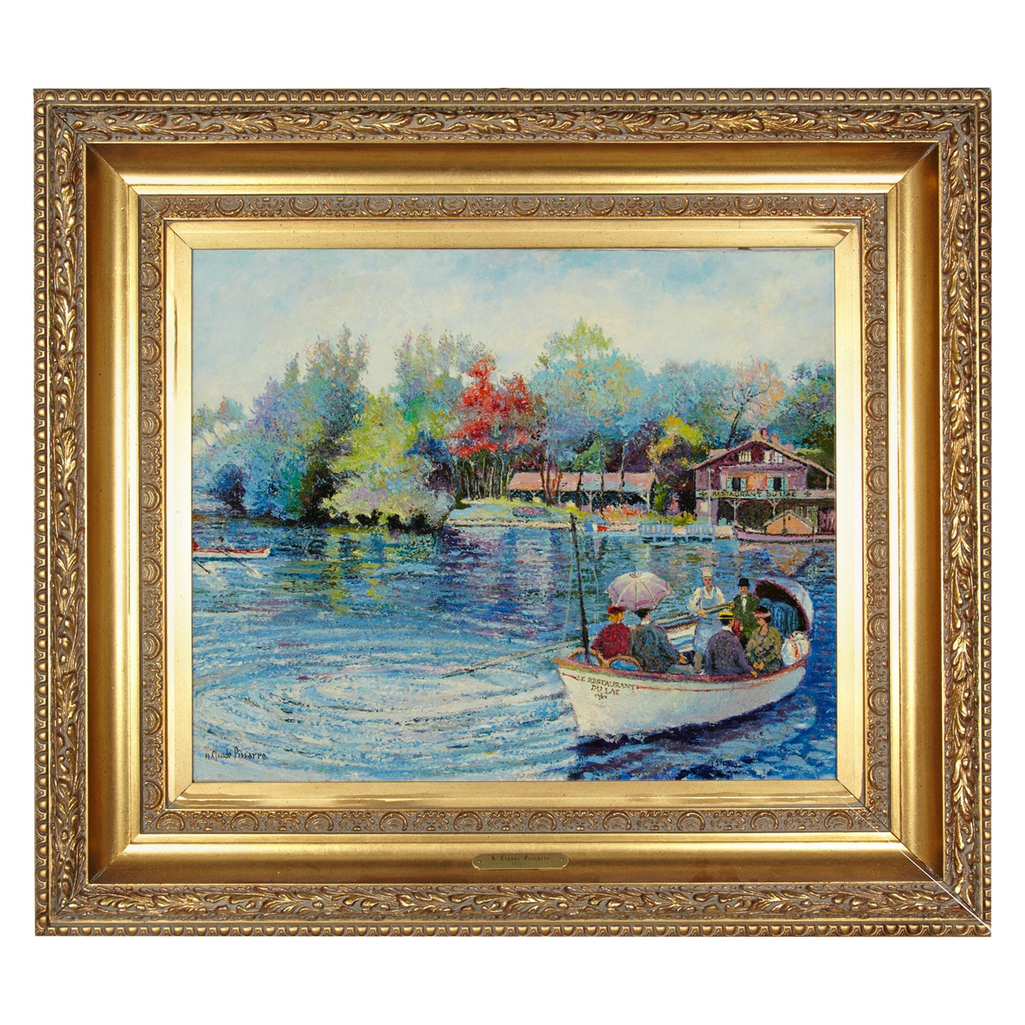 'Le Passeur Du Lac' by Listed Artist H. Claude Pissarro, Oil on Canvas
