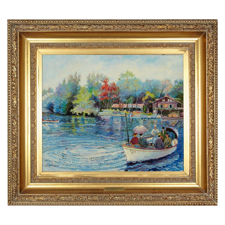 'Le Passeur Du Lac' by Listed Artist H. Claude Pissarro, Oil on Canvas For Sale
