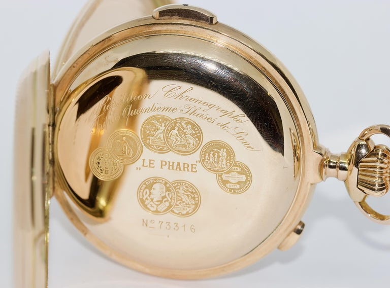 Le Phare, Gold Pocket Hunter Watch, Chronograph, Repeater, Calendar, Moon Phase For Sale 7
