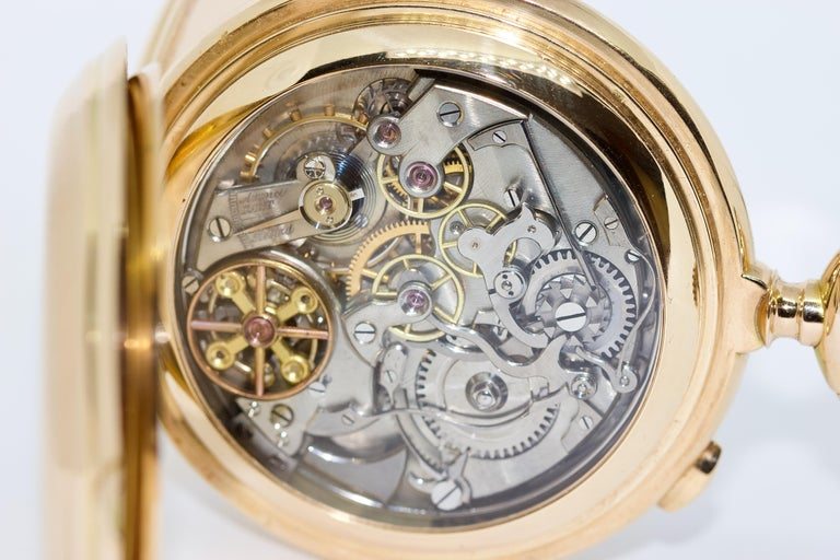Le Phare, Gold Pocket Hunter Watch, Chronograph, Repeater, Calendar, Moon Phase For Sale 8