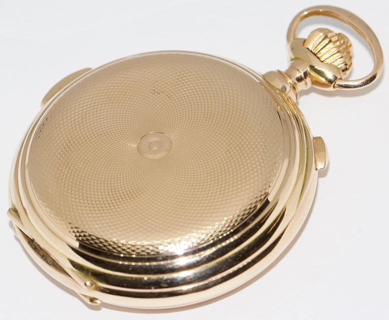 Le Phare, Gold Pocket Hunter Watch, Chronograph, Repeater, Calendar, Moon Phase In Good Condition For Sale In Berlin, DE