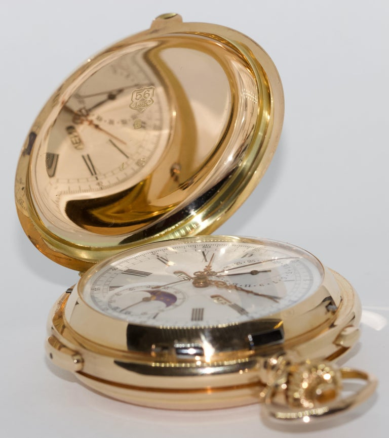 Le Phare, Gold Pocket Hunter Watch, Chronograph, Repeater, Calendar, Moon Phase For Sale 1