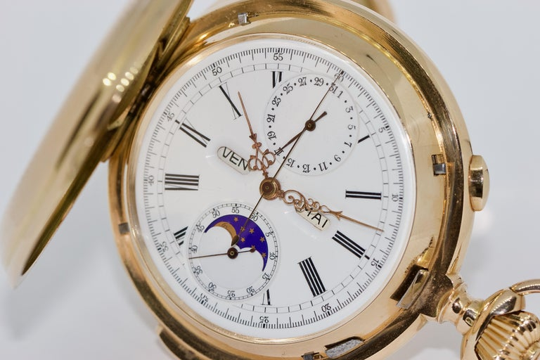 Le Phare, Gold Pocket Hunter Watch, Chronograph, Repeater, Calendar, Moon Phase For Sale 2