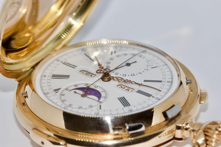 Le Phare, Gold Pocket Hunter Watch, Chronograph, Repeater, Calendar, Moon Phase For Sale 4