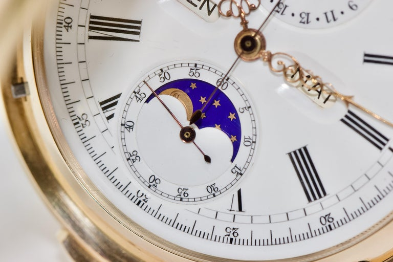 Le Phare, Gold Pocket Hunter Watch, Chronograph, Repeater, Calendar, Moon Phase For Sale 5