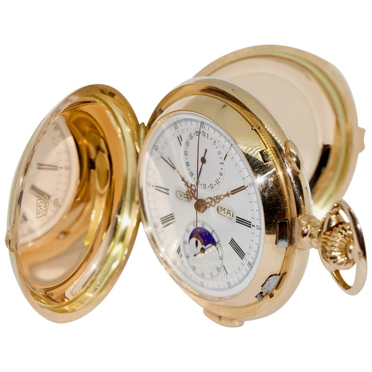 Le Phare, Gold Pocket Hunter Watch, Chronograph, Repeater, Calendar, Moon Phase For Sale