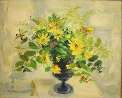 Flowers  Fleurs -  Oil Painting Vietnamese Art Chinese