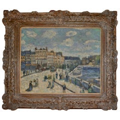 """Le Pont Neuf"" after Renoir Painted by Unknown Artist F. Doucet"