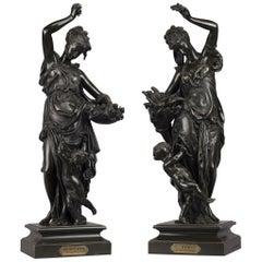 Le Printemps et L'Eté, Bronze Figures After Carrier-Belleuse. French, circa 1870