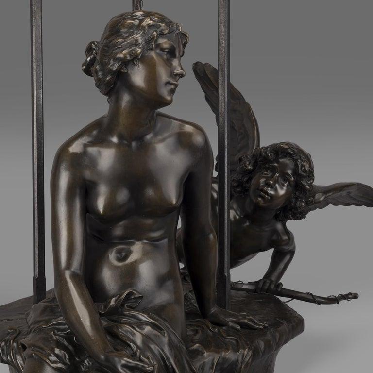 Patinated 'Le Puits Qui Parle' an Exhibition Bronze, Paul Eugène Mengin French, circa 1900 For Sale