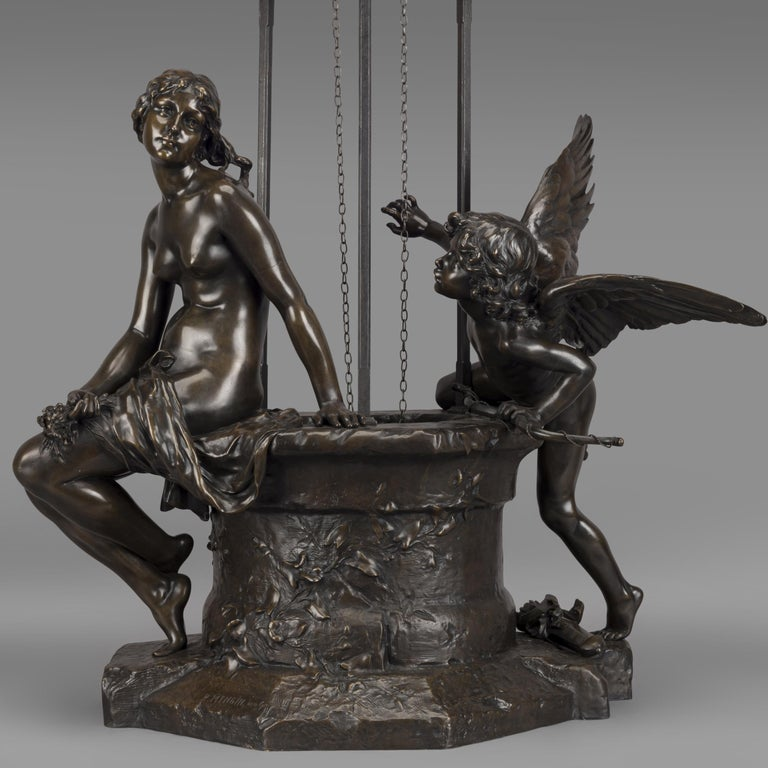 'Le Puits Qui Parle' an Exhibition Bronze, Paul Eugène Mengin French, circa 1900 In Good Condition For Sale In London, GB