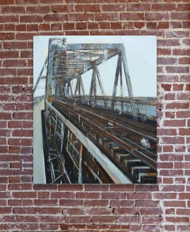 Long Biên Bridge 7, Le Quy Tong Large Cityscape Oil on Canvas Vertical Painting For Sale 2