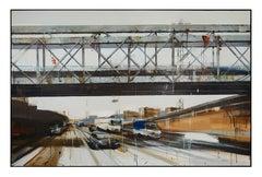 'Speed Under the Bridge' Contemporary Painting of Urban Scene