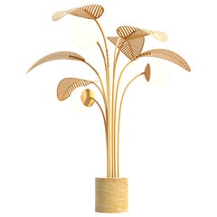 Le Refuge Floor Lamp by Marc Ange with Gold Marble Base and Yellow Metal Leaves