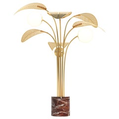 Le Refuge Floor Lamp by Marc Ange with Red Marble Base and 6 Gold Metal Leaves