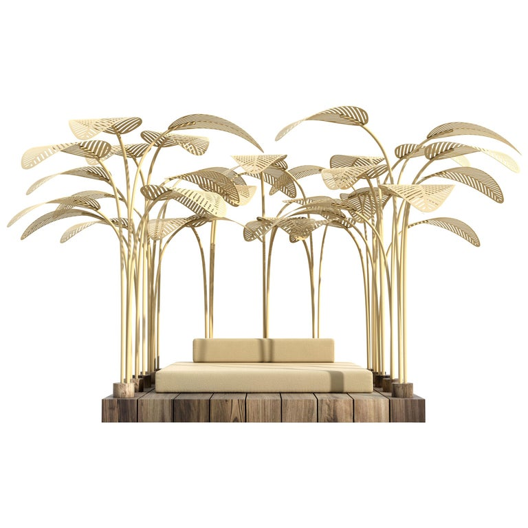 Le Refuge Outdoor Daybed by Marc Ange with Teak Base and Yellow Metal Leaves For Sale