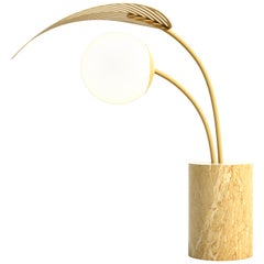 Le Refuge Table Lamp by Marc Ange with Gold Marble Base and Yellow Metal Leaf