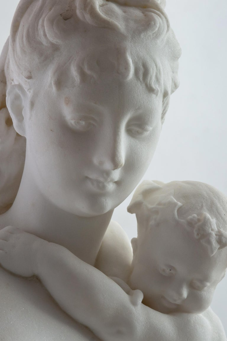 French Le Retour des Champs 'Return from the Harvest' Carrara Marble, Signed and Dated For Sale