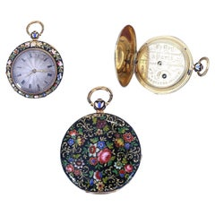 Le Roy Painted Enamel Gold French Ladies Pocket Watch Original Case, 1890