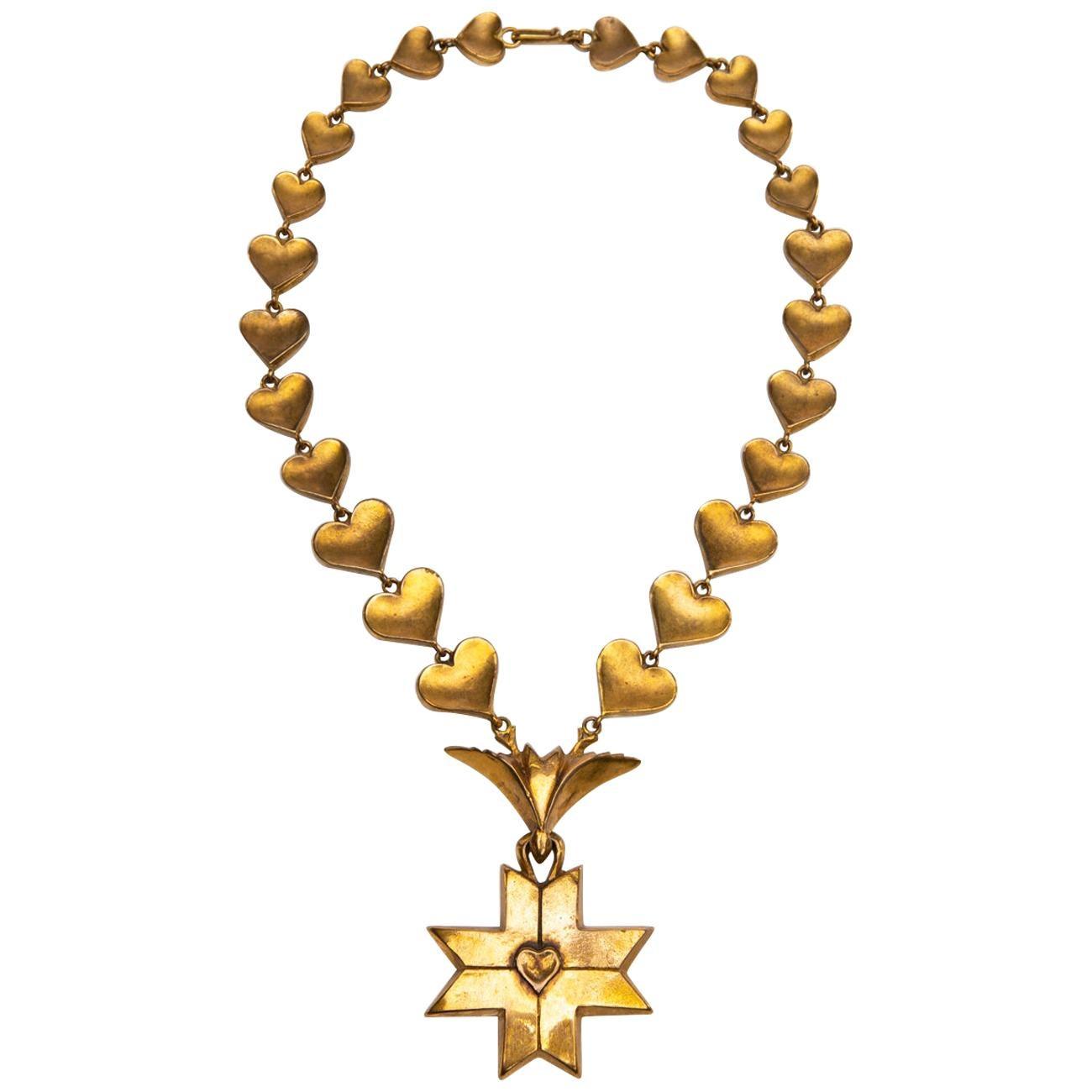 Le Saint Esprit, Gilded Bronze Necklace, Line Vautrin 'France'