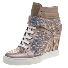 Le Silla Beige Crystal Embellished Suede and Leather Burma Wedge Sneakers Size 4