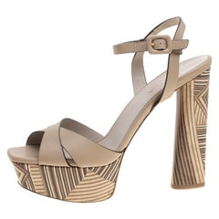 Le Silla Beige Leather Ankle Strap Block Heel Platform Sandals Size 39