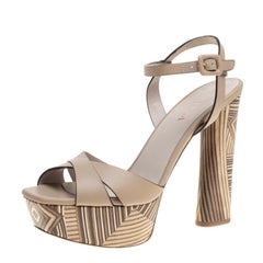 Le Silla Beige Leather Ankle Strap Block Heel Platform Sandals Size 39