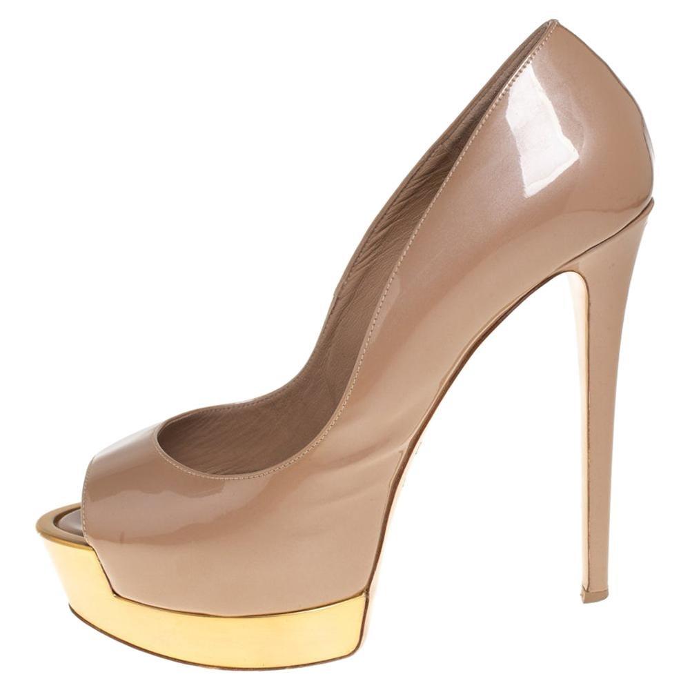 Le Silla Beige Patent Leather Peep Toe Platform Pumps Size 38
