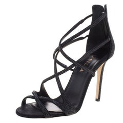 Le Silla Black Crystal Embellished Suede Strappy Sandals Size 38