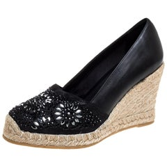 Le Silla Black Leather And Suede Embellished Wedge Espadrille Pumps Size 37