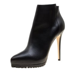 Le Silla Black Leather Platform Ankle Boots Size 40
