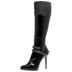 Le Silla Black Leather Studded Knee Length Boots Size 38
